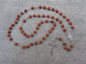 Caramel Brown Fossil Gemstone Rosary Miraculous Cross Center Silver Crucifix 8mm Beads