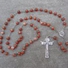 Red Zebra Jasper Gemstone Rosary Silver Trinity Crucifix Holy Spirit Center 8mm Beads