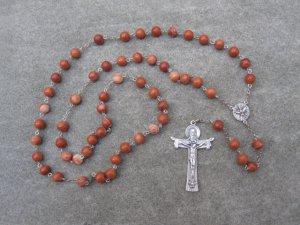 Red Zebra Jasper Gemstone Rosary Silver Trinity Crucifix Holy Spirit Center 8mm Beads