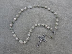 Peace Jade Gemstone Orthodox Chotki Prayer Beads Silver Crucifix 33 Beads