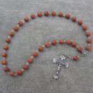 Red Zebra Jasper Gemstone Orthodox Chotki Prayer Beads Silver Crucifix 33 Beads