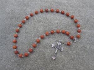 Red Zebra Jasper Gemstone Orthodox Chotki Prayer Beads Silver Crucifix 33 Beads