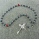 Blue Coral Gemstone Orthodox Chotki Prayer Beads Silver Crucifix 33 Bead