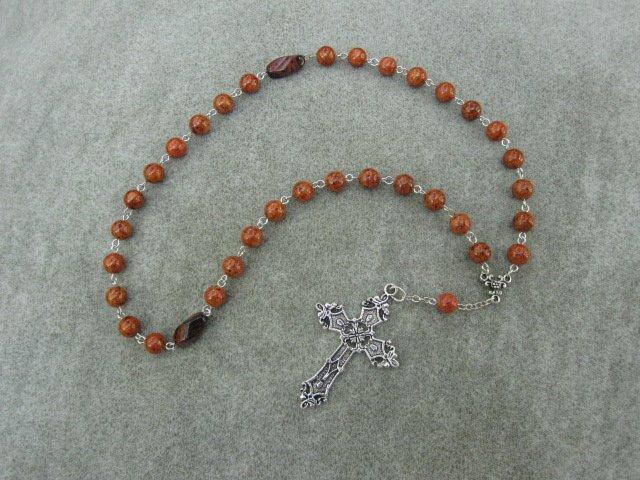 Caramel Brown Fossil Gemstone Orthodox Chotki Prayer Beads Silver Cross 33 Bead