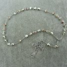 White Cloisonne Anglican Rosary Silver Cross 8mm Beads