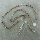 Burgundy Cloisonne Rosary Miraculous Center Silver Crucifix 8mm Beads