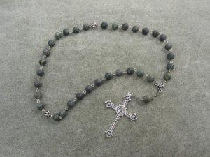 Russian Serpentine Gemstone Orthodox Chotki Prayer Beads Silver Cross 33 Beads