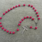 Pink Fossil Gemstone Anglican Rosary Silver Crucifix 8mm Beads