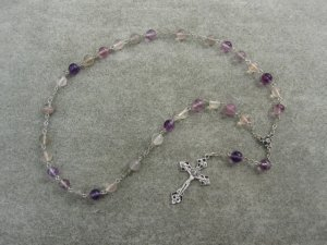 Rainbow Flourite Gemstone Anglican Rosary Silver Crucifix 8mm Beads