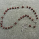 Red Sesame Jasper Gemstone Anglican Rosary Silver Crucifix 8mm Beads