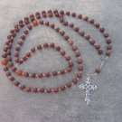 Red Sesame Jasper Gemstone Orthodox Chotki Prayer Beads Silver Cross 100 Beads 8mm