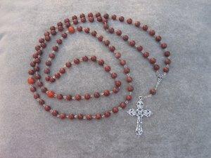 Red Sesame Jasper Gemstone Orthodox Chotki Prayer Beads Silver Cross 100 Beads 8mm