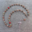 Autumn Jasper Gemstone Orthodox Chotki Prayer Beads Silver Crucifix 33 Beads 8mm