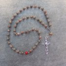 Autumn Jasper Gemstone Orthodox Chotki Prayer Beads Silver Crucifix 50 beads 8mm