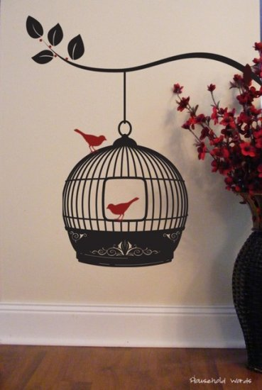 Hanging Bird Cage - Vinyl wall decal