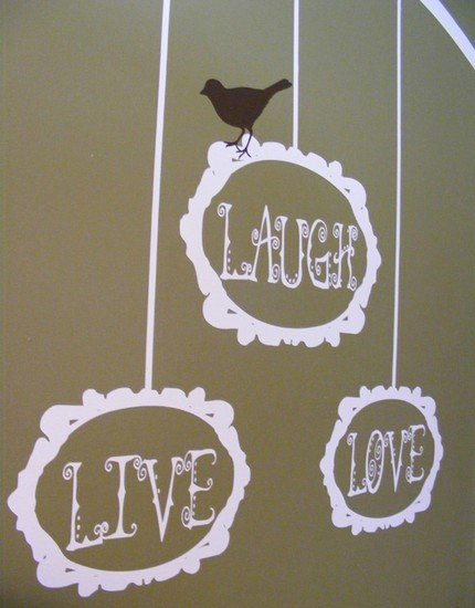Live Laugh Love - Tree Branch and Bird with Baroque Photo Frames - VINYL Decal Wall Art
