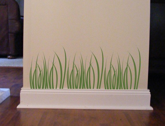 3 Piece Grass Vinyl Wall Decal Sticker Earthy Deco