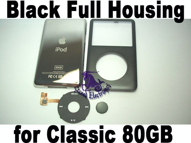 Genuine OEM Black Full Set Housing Fascia Cover Clickwheel Button for iPod 6th Gen Classic 80GB