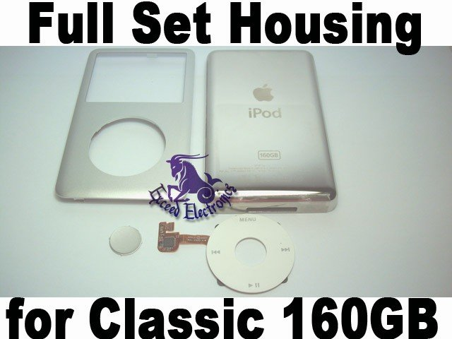 Genuine OEM Silver Full Set Housing Fascia Cover Clickwheel Button for iPod 6th Gen Classic 160GB