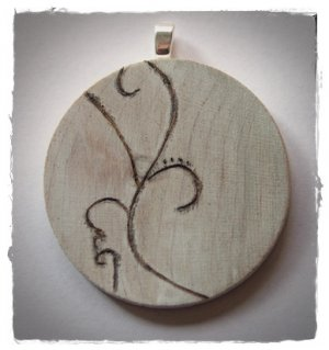 RECYCLED OOAK ENGRAVED WOOD PENDANT DRIFTWOOD