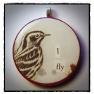MIXED MEDIA OOAK VINTAGE BIRD COLLAGE PENDANT I FLY