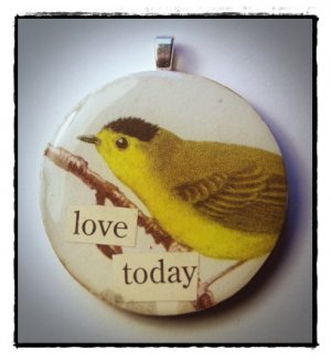 MIXED MEDIA OOAK VINTAGE BIRD COLLAGE PENDANT Love Today