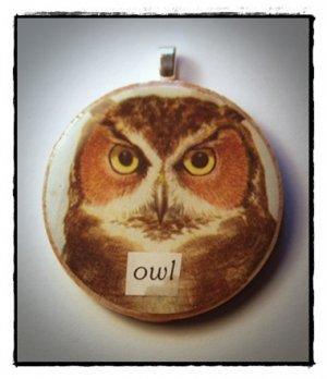 MIXED MEDIA OOAK VINTAGE OWL COLLAGE PENDANT