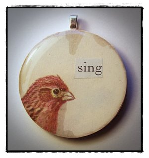 MIXED MEDIA OOAK VINTAGE BIRD COLLAGE PENDANT Sing