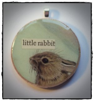LITTLE RABBIT VINTAGE COLLAGE PENDANT