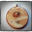 FANCY LADYBUG VINTAGE MIXED MEDIA COLLAGE PENDANT