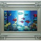 "photo-frame shape rotating fish aquarium lamp, size 10.5""lx8.25""h"