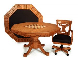 FREE SHIPPING!!!! 3-In-1 Oak Finish Game Table with 4 Leather Chairs
