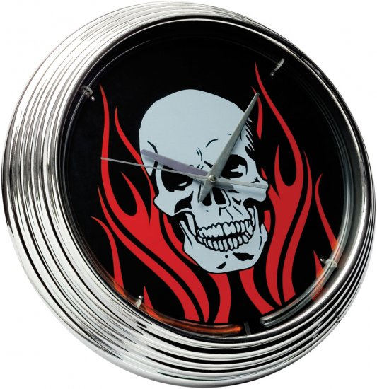 Neon Clock Flaming Skull FREE SHIPPING!!!