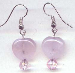 Rose Quartz Heart with Light Pink Swarovski Drop Earrings