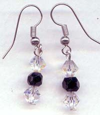 Clear and Black Swarovski drop Earrings