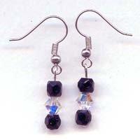 Black and Clear Diamond Shaped Swarovski Drop Earrings