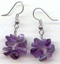 Round Amethyst  chips Dangling Earrings