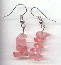 Straight Cherry Quartz chips Dangling Earrings
