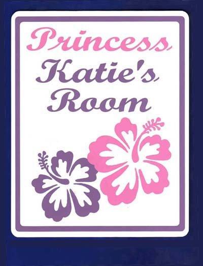 Personalized PRINCESS w/HIBISCUS Kids Bedroom Door SIGN