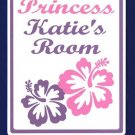 Personalized PRINCESS w/HIBISCUS Kids Bedroom Door SIGN