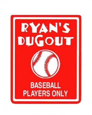 Personalized baseball boys bedroom door sign for A bathroom i can play baseball in