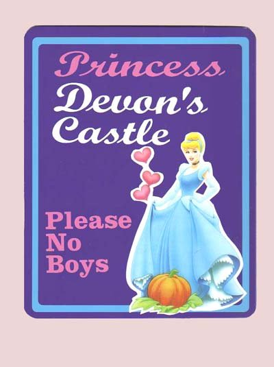 Personalized PRINCESS CINDERELLA Girls Room Door SIGN (Purple)