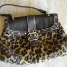Golden Black Spotted Leopard women's brown handbag purse