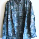 New blue and teal printed 100% Silk mens shirt size S NIB