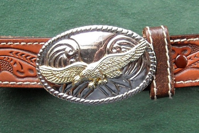 Vintage womens leather belt with silver and gold finish buckle 30""