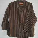 Biberstein Hudson black striped 100% cotton mens shirt size 52 L