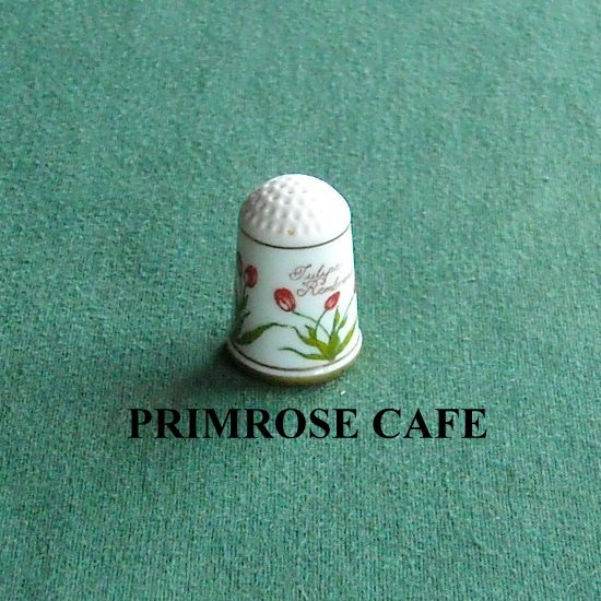 Franklin flowers of Nederland Holland porcelain thimble Tulipa Rembrandt