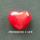Red small solid glass heart shaped paperweight
