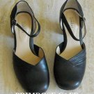Strictly Comfort womens black leather Ankle Strap shoes size 8.5 W