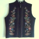 Icelandic Design Womens Embroidered Zip Front Lined Black Vest Size S